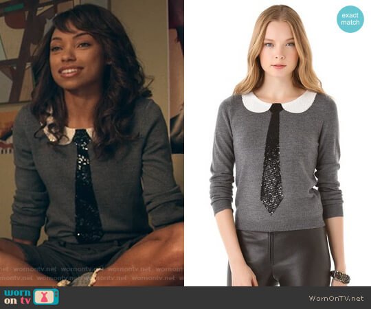 Delray Sequin Tie Sweater by Alice + Olivia worn by Logan Browning on Dear White People