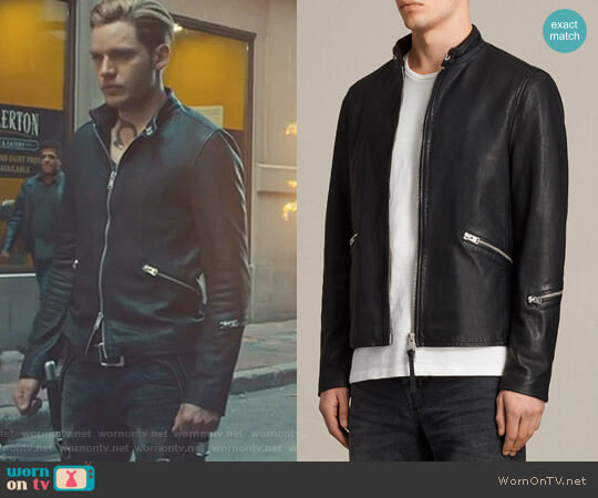 Cruz Leather Jacket by  All Saints worn by Dominic Sherwood on Shadowhunters