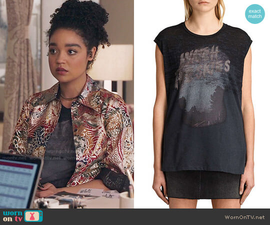 All Saints Brookita Watch The Skies T-Shirt worn by Kat Edison (Aisha Dee) on The Bold Type