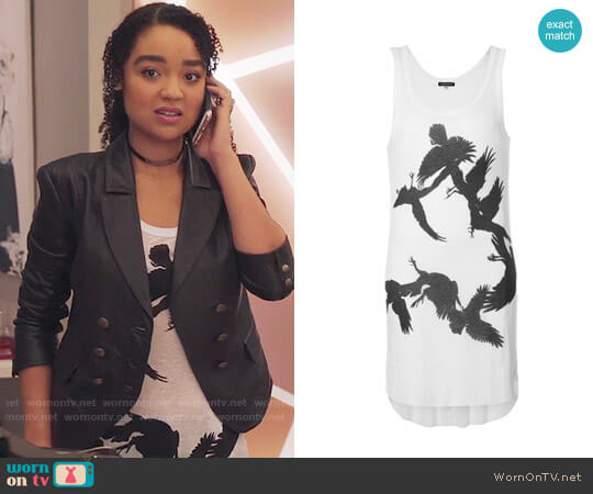 Ann Demeulemeester Bird Print Shiloh Top worn by Aisha Dee on The Bold Type
