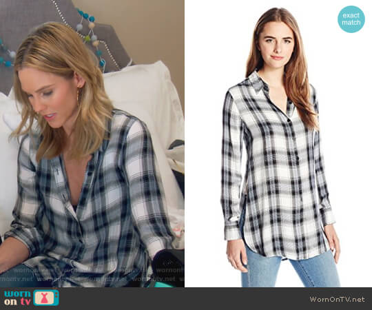 Deacon Plaid Shirt with Side Slits by BB Dakota worn by Meghan King Edmonds on The Real Housewives of Orange County