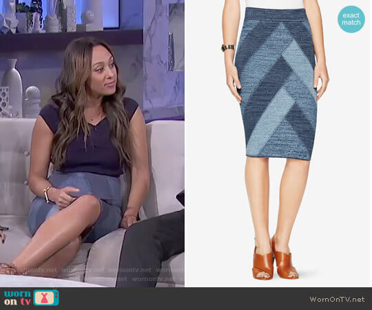Patchwork Pencil Skirt by Bcbgmaxazria worn by Tamera Mowry  on The Real