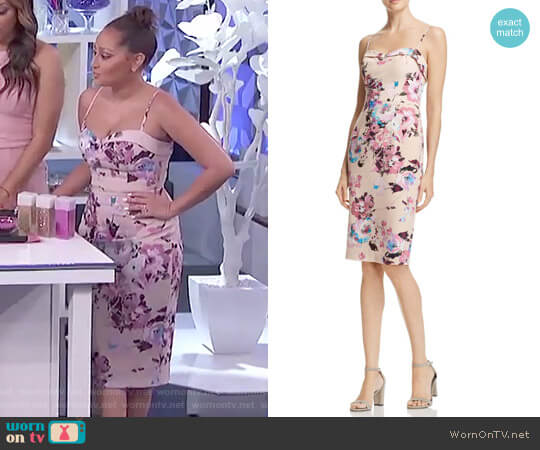 Clover Floral-Print Dress by Black Halo worn by Adrienne Houghton on The Real