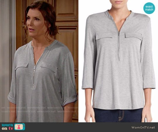 Calvin Klein Zip Placket Top worn by Kimberlin Brown on The Bold & the Beautiful