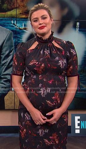 Carissa's black floral maternity dress with cutouts on E! News