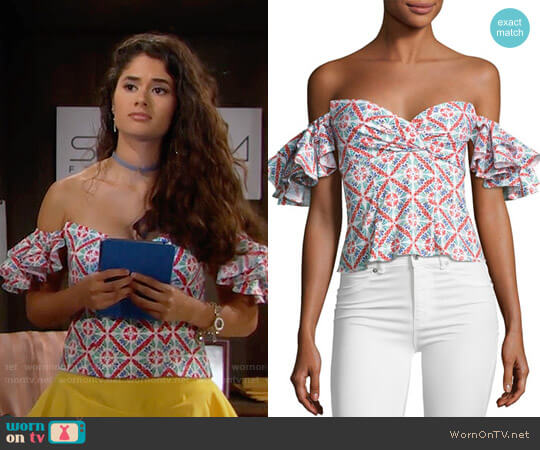 Caroline Constas Louisa Top worn by Darlita (Danube Hermosillo) on The Bold & the Beautiful