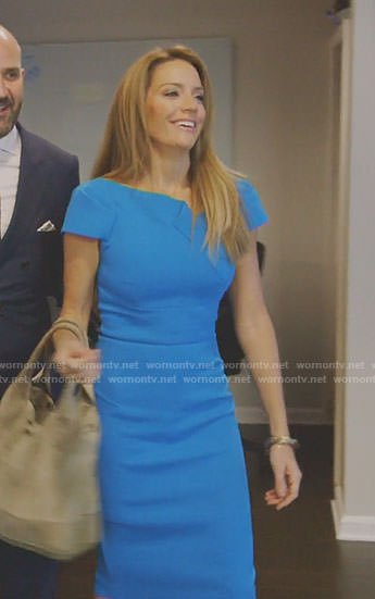 Cary's blue folded detail dress on The Real Housewives of Dallas