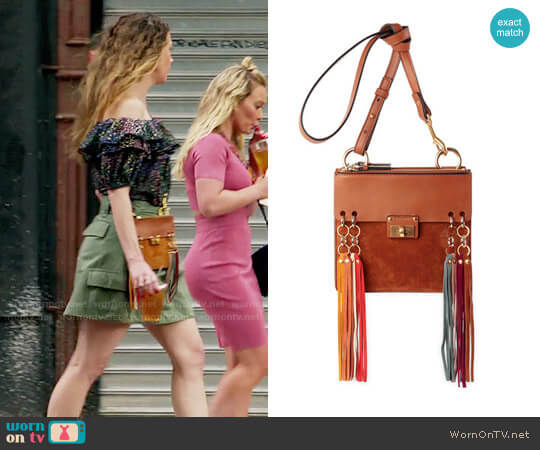 Chloe Jane Tassel-Trim Leather Crossbody Bag worn by Liza Miller on Younger