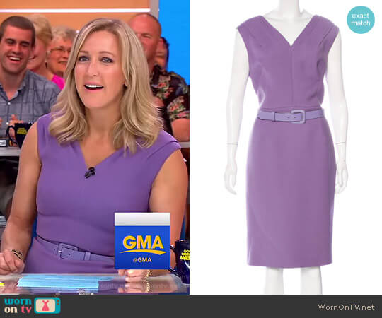 Belted Sheath Dress by Christian Dior worn by Lara Spencer on Good Morning America