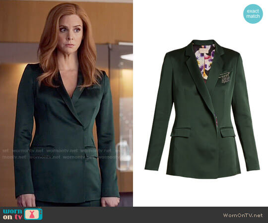 Christopher Kane Safety Pin-embellished Cady Blazer worn by Donna Paulsen (Sarah Rafferty) on Suits