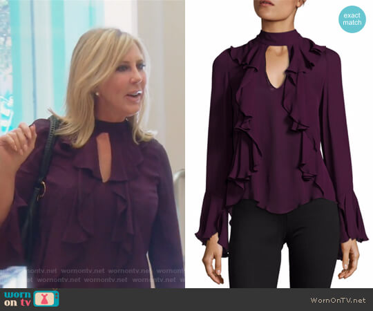Sia Choker Ruffled Silk Blouse by Cinq a Sept worn by Vicki Gunvalson (Vicki Gunvalson) on The Real Housewives of Orange County