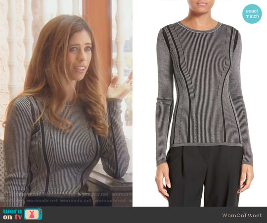 Ribbed Merino Wool Blend Top by Diane von Furstenberg worn by Lydia McLaughlin on The Real Housewives of Orange County