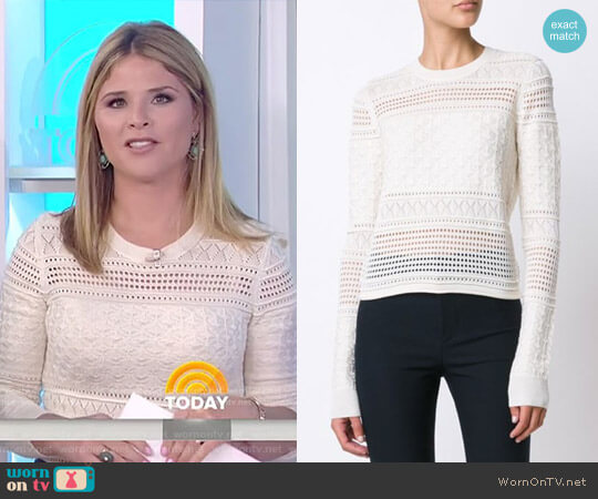 Perforated Sweater by 10 Crosby by Derek Lam worn by Jenna Bush Hager on Today