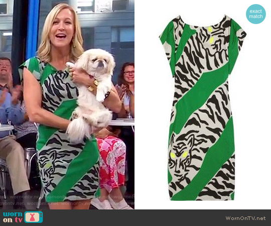Asher Printed Crepe Dress by  Diane Von Furstenburg worn by Lara Spencer on Good Morning America