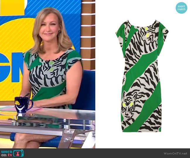 Asher Printed Crepe Dress by  Diane Von Furstenburg worn by Lara Spencer  on Good Morning America