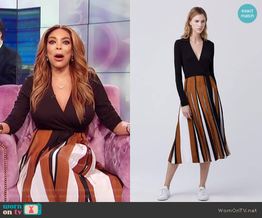 Stevie Two Pleated Wrap Dress by Diane von Furstenberg worn by Wendy Williams on The Wendy Williams Show