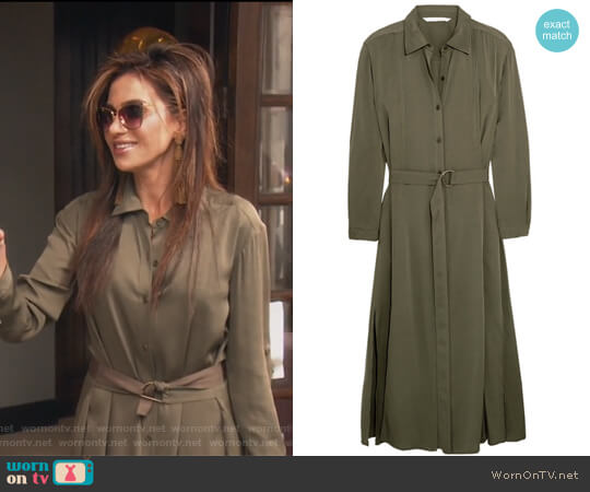 Clarise silk-blend shirt dress by Diane von Furstenberg worn by Peggy Sulahian on The Real Housewives of Orange County