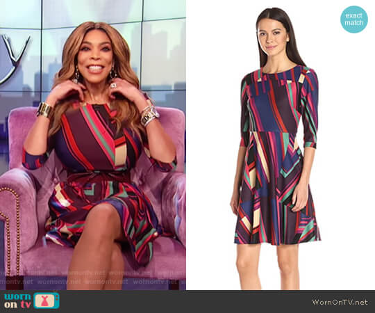 Fit and Flare Dress by Donna Morgan worn by Wendy Williams on The Wendy Williams Show