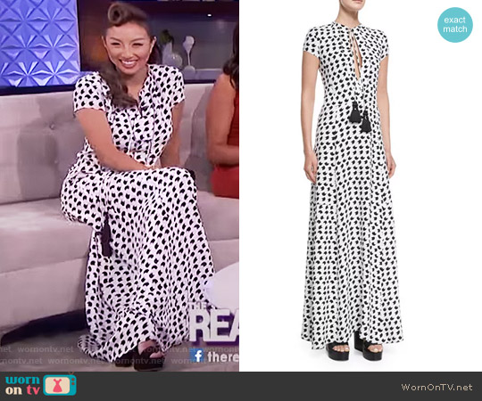 Short-Sleeve Crescent-Print Gown by Derek Lam worn by Jeannie Mai on The Real