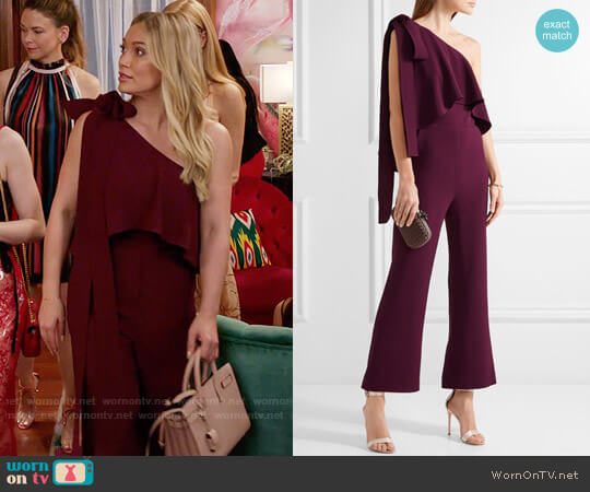 Elie Saab One-shoulder ruffled stretch-crepe jumpsuit worn by Hilary Duff on Younger