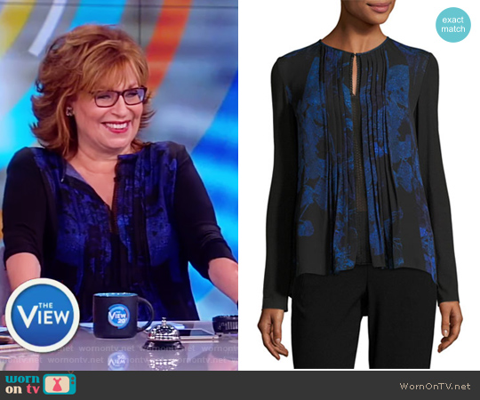 Northstar Holly Long-Sleeve Printed Silk Blouse by Elie Tahari worn by Joy Behar  on The View