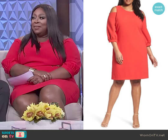 Cold Shoulder Shift Dress by Eliza J worn by Loni Love  on The Real