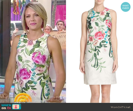 Placed Floral Print Stretch A-Line Dress by Eliza J worn by Dylan Dreyer on Today