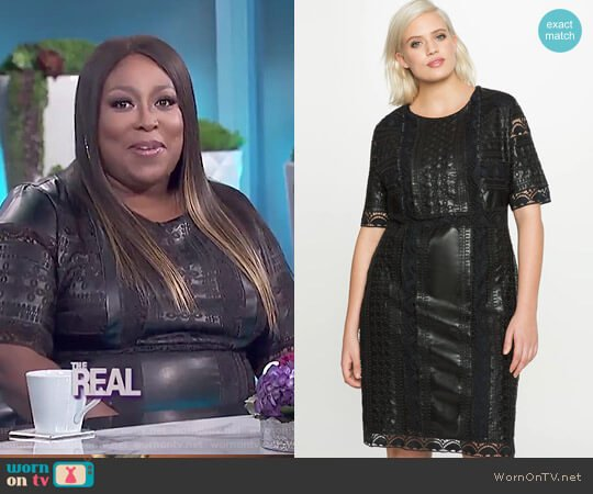 Eyelet Faux Leather Dress by Eloquii worn by Loni Love on The Real