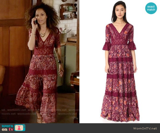 Free People Dulce Maria Maxi Dress worn by Sherri Saum on The Fosters