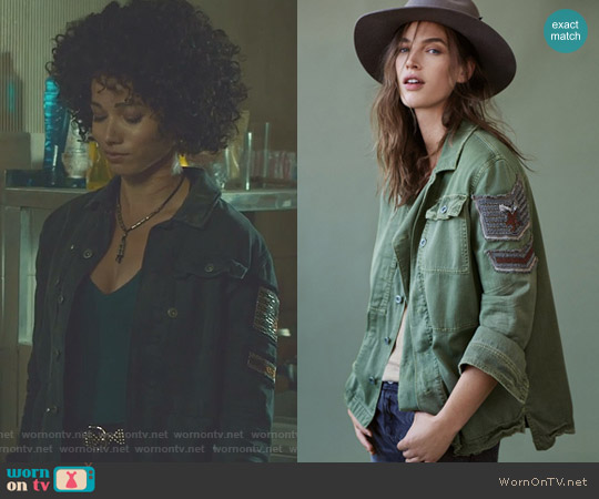 Embellished Military Shirt Jacket by Free People worn by Maia Roberts (Alisha Wainwright ) on Shadowhunters