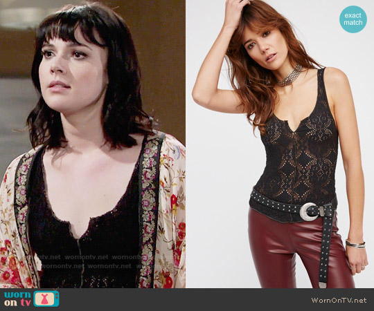 Free People Pucker Lace Notch Cami worn by Cait Fairbanks on The Young & the Restless