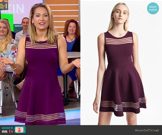 Tobey Crepe Knit Mini Skater Dress by French Connection worn by Ginger Zee on Good Morning America