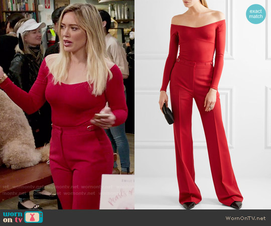 Gabriela Hearst Hobbs Bodysuit and Vesta Pants worn by Hilary Duff on Younger