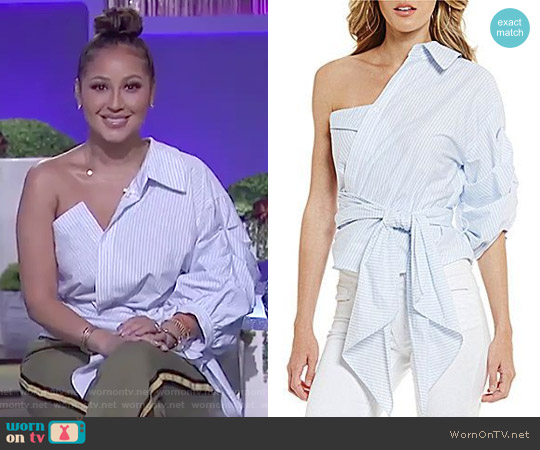 Jessa One Shoulder Poplin Blouse by Gianni Bini worn by Adrienne Houghton  on The Real