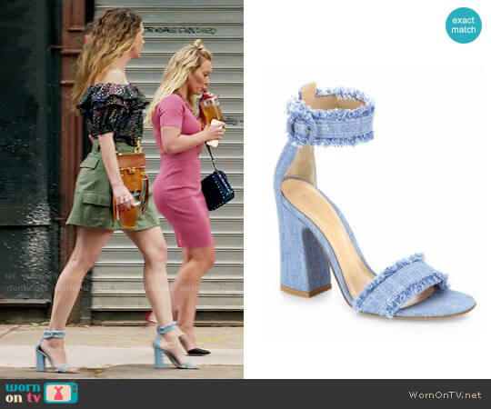 Gianvito Rossi Kiki Frayed Denim Sandals worn by Sutton Foster on Younger