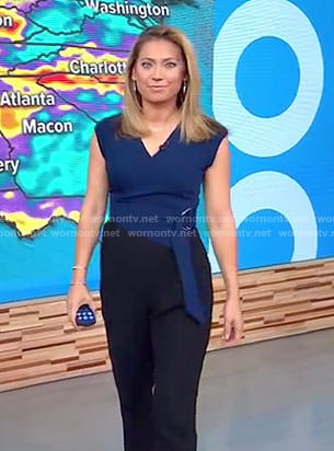 Ginger's blue and black belted jumpsuit on Good Morning America