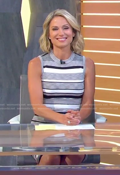 Amy's grey striped sleeveless dress on Good Morning America