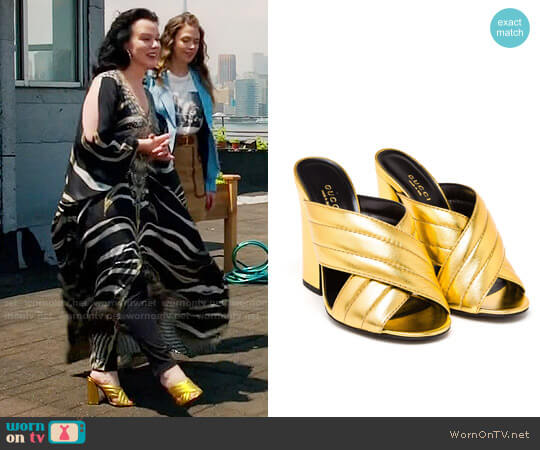 Gucci Padded Metallic Leather Mules worn by Maggie on Younger