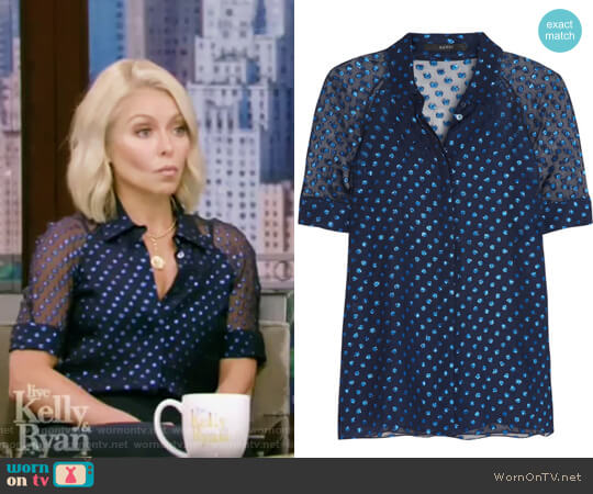 Polka-dot silk-blend chiffon blouse by Gucci worn by Kelly Ripa on Live with Kelly & Ryan