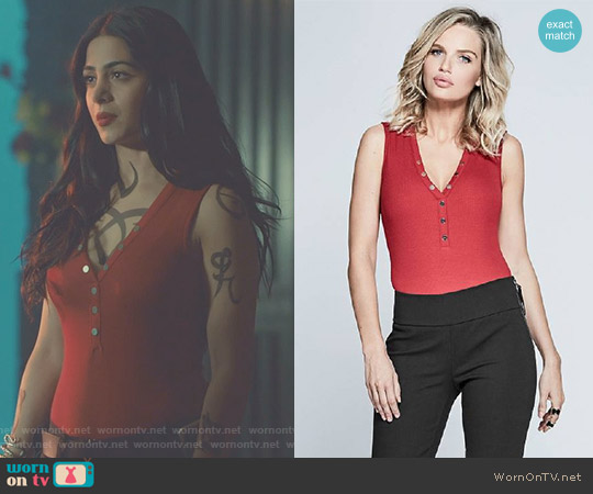 'Kasie' Sleeveless Bodysuit by Guess worn by Emeraude Toubia  on Shadowhunters