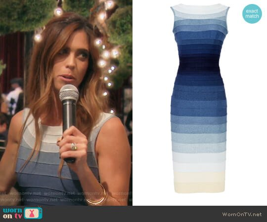 Blue Ardell Dress by Herve Leger worn by Lydia McLaughlin  on The Real Housewives of Orange County