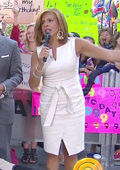 Hoda's cream split neck sleeveless dress on Today