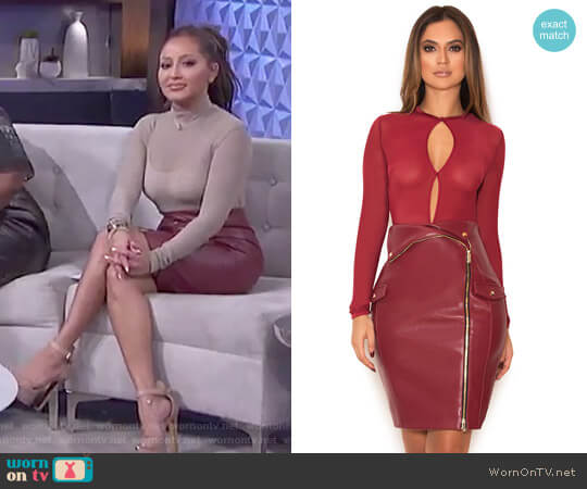 'Siyanna' skirt in vegan leather by House of CB worn by Adrienne Houghton on The Real