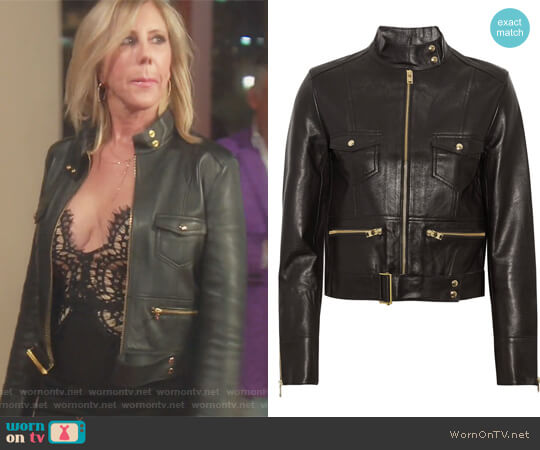 Broome Leather Biker Jacket by IRO worn by Vicki Gunvalson on The Real Housewives of Orange County