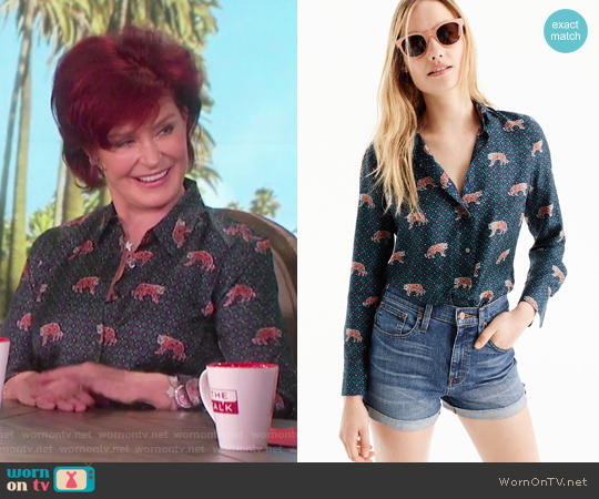 Silk twill button-up in tiger print by J.Crew worn by Sharon Osbourne  on The Talk