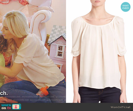 'Eleanor' Silk Blouse by Joie worn by Kameron Westcott on The Real Housewives of Dallas