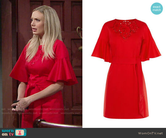 Karen Millen Embroidered Tie Waist Dress worn by Melissa Ordway on The Young & the Restless
