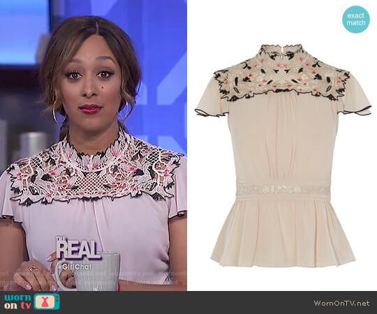 Floral Lace embroidered Top by Karen Millen worn by Tamera Mowry on The Real