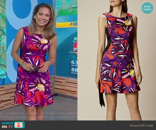 Floral Cotton Mini Dress by Karen Millen worn by Ginger Zee on Good Morning America