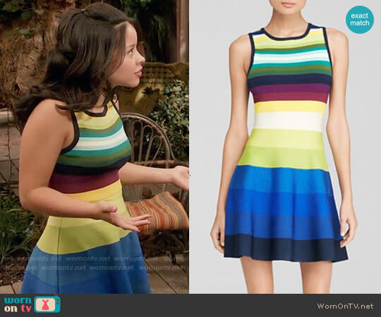 Karen Millen Rainbow Stripe Knit Dress worn by Cierra Ramirez on The Fosters